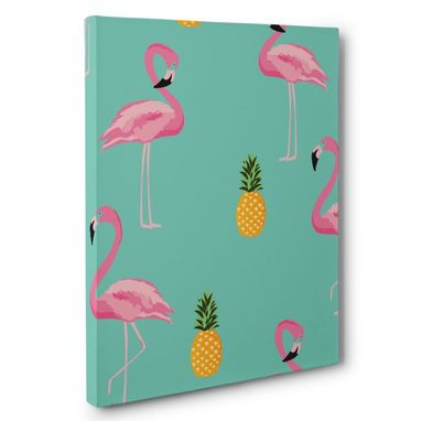 Custom Made Flamingos And Pineapples Canvas Wall Art
