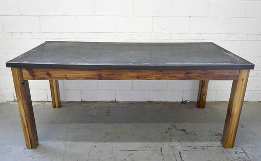 Custom Made Reclaimed Pine & Blackened Steel Dining Table & Bench