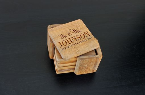 Custom Made Custom Bamboo Coasters, Custom Engraved Coasters --Cst-Bam-Mr. & Mrs. Johnson