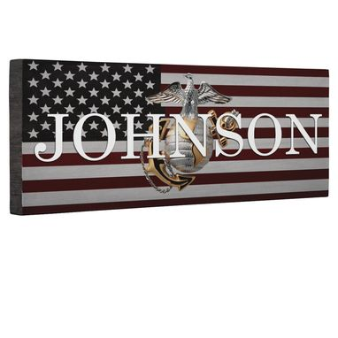 Custom Made Hero Marine Logo Flag Canvas Wall Art