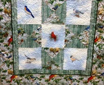 Custom Made Custom Bird Throw Quilt #1