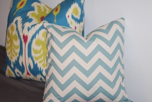 Custom Made Baby Blue And White Chevron Pillow Cover - Linen Chevron Pillow Cover