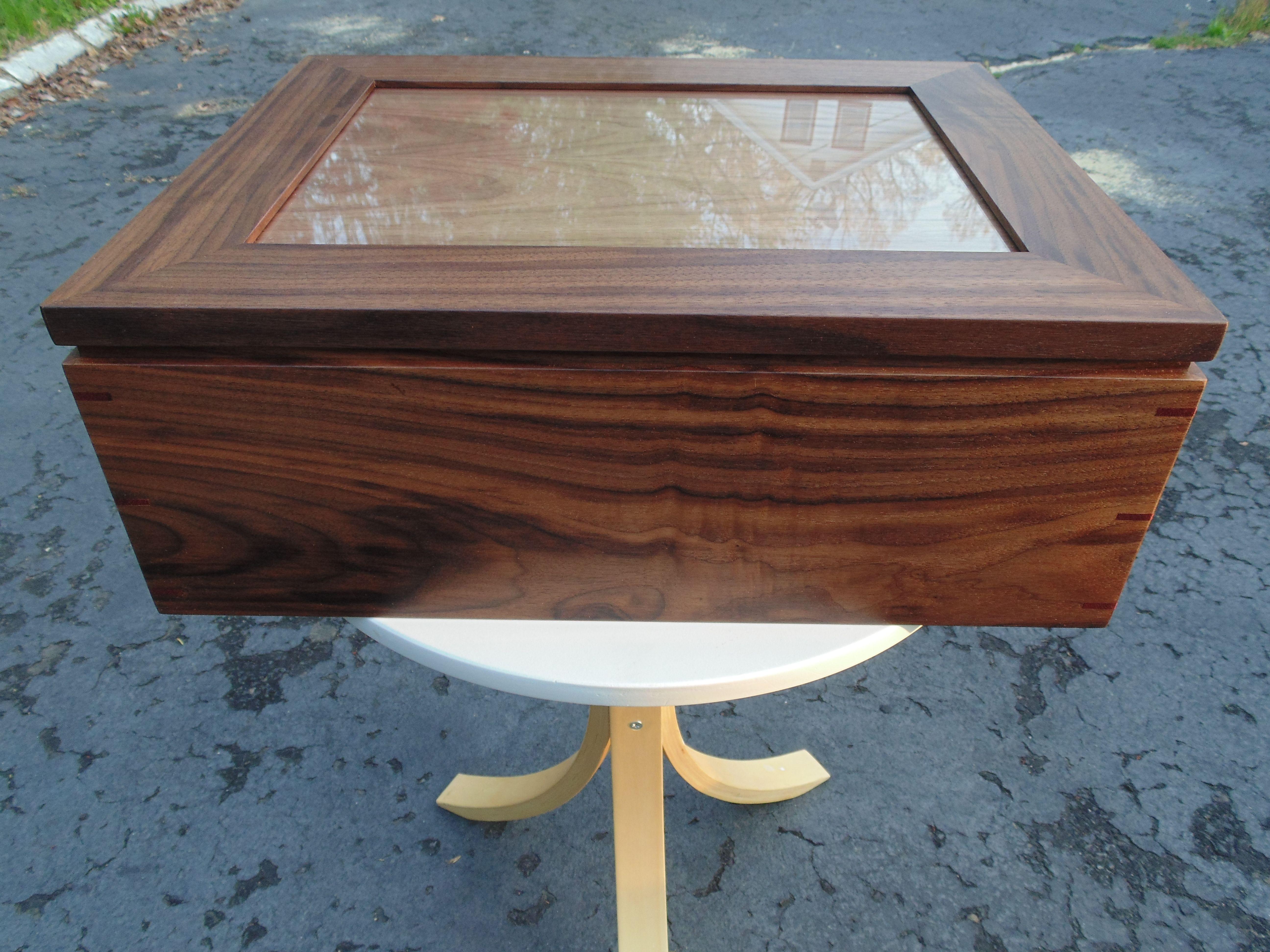 Handmade Solid Walnut Keepsake Box W/ Picture Frame Lid by Insight ...