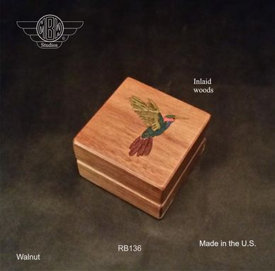 Custom Made Ring Box, Humming Bird Inlay.   Rb-136