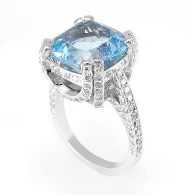 Custom Made Aquamarine And Diamond Engagement Ring In 14k White Gold, March Birthstone Ring, Colored Stone Ring