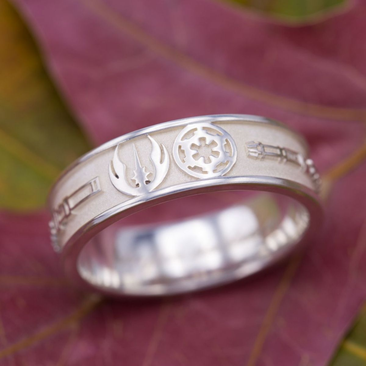 A Star Wars Wedding Band Features Balance Of Light And Dark With The Symbols For Galactic Republic Empire Flanked By