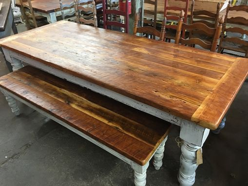 Custom Made 8 Foot Antique Heart Pine Table Set
