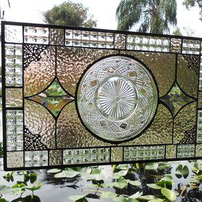 Custom Stained Glass Window Panels.Hand Made Recycled Depression Glass Stained Glass Window