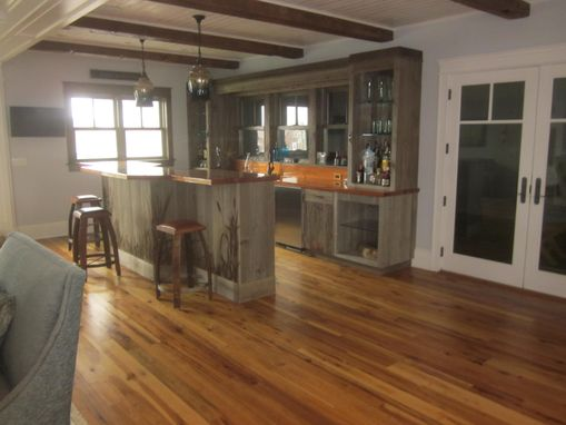 Custom Made Custom Bar In Reclaimed Barnsiding With Antique Heart Pine Top