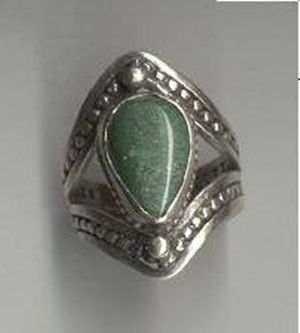Custom Made Split Band Tear-Drop Jade Ring