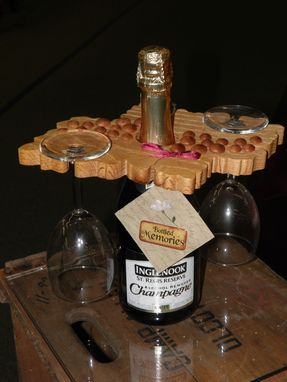 Custom Made 2 Wine Glass Holder To Fit Over A Bottle.