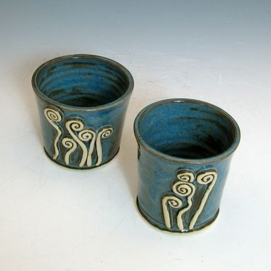 Custom Made Ceramic Tumblers With Fiddlehead Ferns In Blue