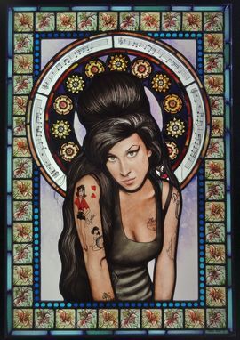 Custom Made Amy Winehouse Stained Glass