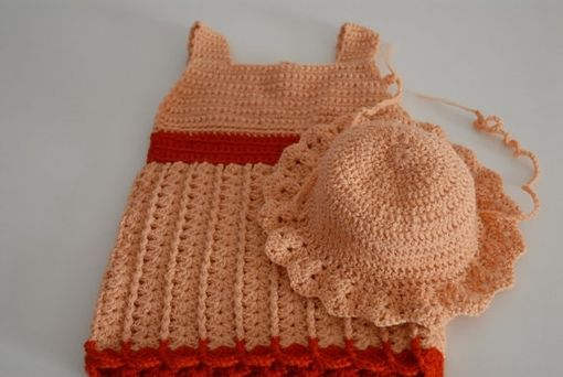 Custom Made Crochet Baby Dress And Hat Set