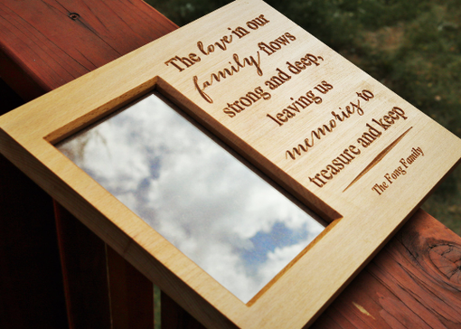 Custom Made Personal Message Beech Wood Picture Frame With Carved Lettering