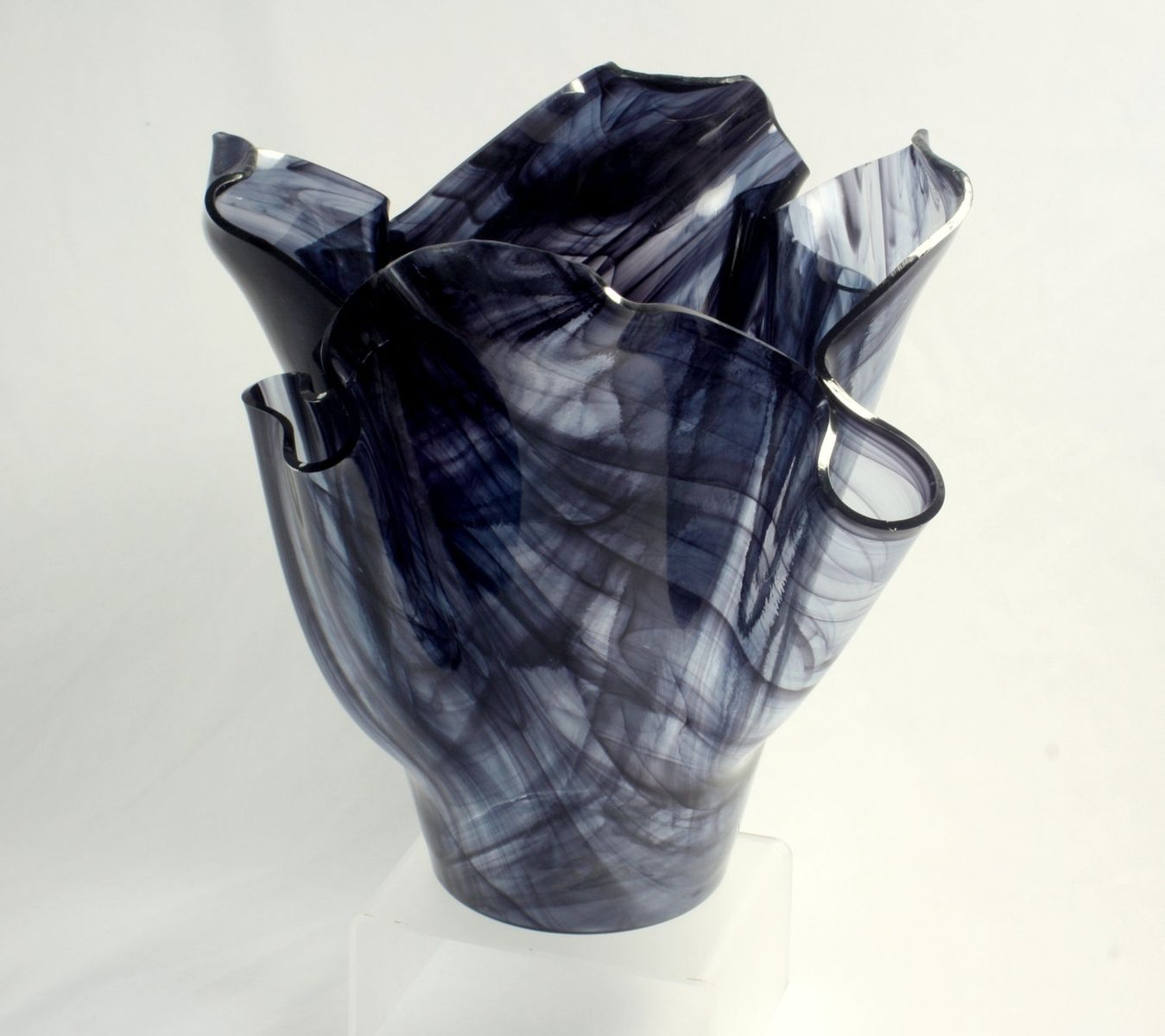 Buy a custom wispy black fused glass vase made to order from jm buy a custom wispy black fused glass vase made to order from jm fusions llc custommade reviewsmspy