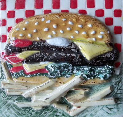 Custom Made Cheeseburger And Fries Relief Tile Hand Carved