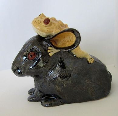 Custom Made Sculpted Ceramic Frog On Rabbit