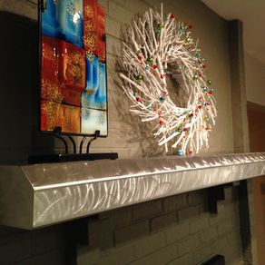 Custom Brushed Stainless Steel Fireplace Mantels And Shelving By James Perkins Metal Sculpture