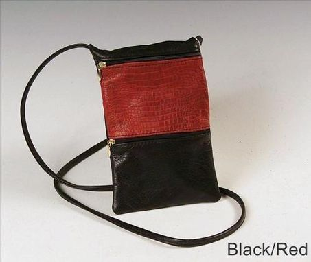Custom Made Passport Bag, Black And Brown Leather