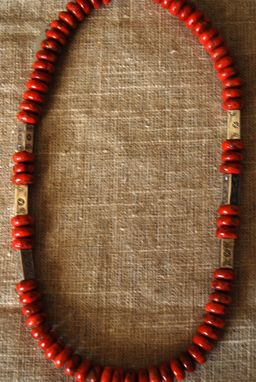Custom Made Apple Coral Rondelles Embossed Sterling Silver Rectangle Beads,Silver Clasp Native American Style
