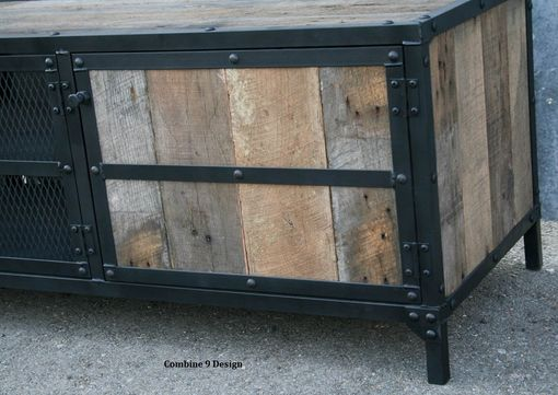 Custom Made Rustic Industrial Media Console, Tv Stand (Or Buffet). Vintage Credenza, Steel/Reclaimed Wood.