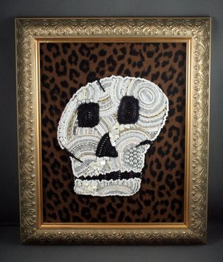 Custom Made Bead And Pearl Embroidered Skull Painting