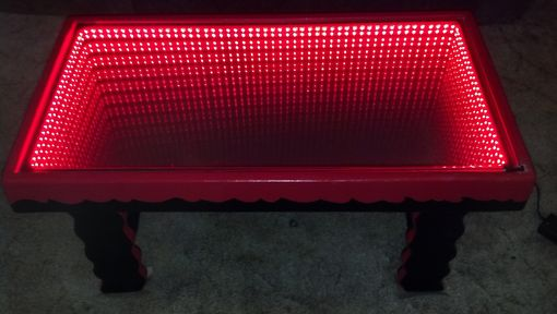 Custom Made Black And Red Wave Table With Built In Remote-Controlled Led Infinity Mirror