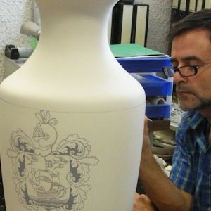 "Custom Made Handpainted "" Coat Of Arms"" Urn"