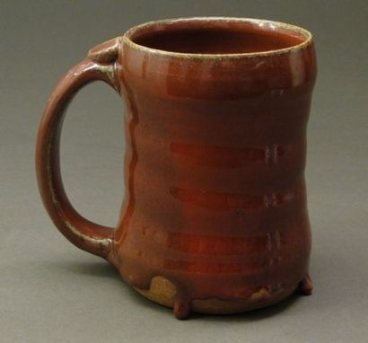 Custom Made Copper Red Handmade Stoneware Pottery Mug, (Sku 26)
