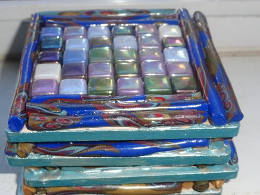Custom Made Art Mosaic Tiles/Coasters Metallic, Polymer Clay