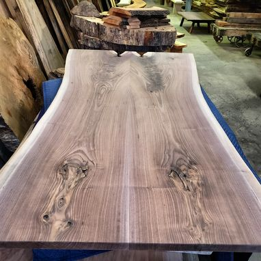 Custom Made Black Walnut Slab Table And Benches