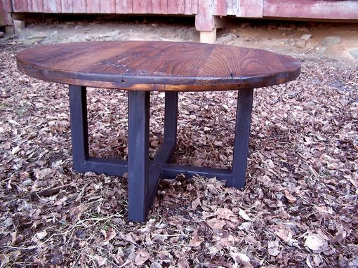 Custom Made Reclaimed Wood Wormy Chestnut Round Coffee Table With Industrial Metal Base