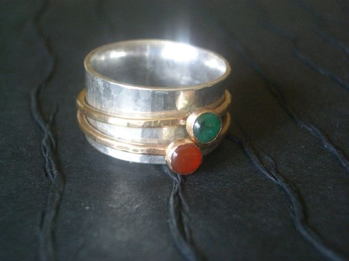 Custom Made Spinning Mother's Ring With Gemstones
