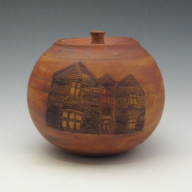 Custom Made Lidded Jar With Houses