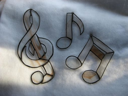Custom Made Blue Stained Glass Musical Single Note With Swirls