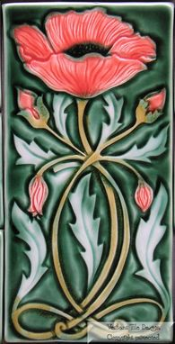 Custom Made Art Nouveau Poppy Tile