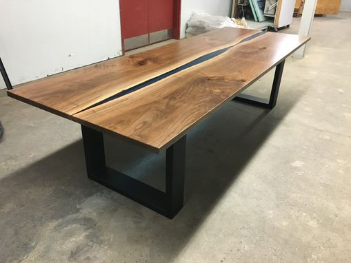 Custom Made Book-Matched Black Walnut, Resin, And Steel Conference Table