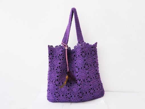 Custom Made Purple Handmade Crochet Handbag