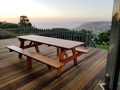 Custom Made 9ft Redwood Picnic Table With Attached Benches.