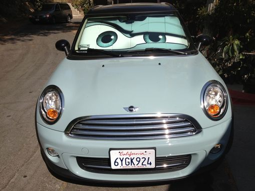 Custom Made Ice Blue Mini Cooper Eyes Sunshade - Eyeshade