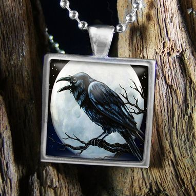 Custom Made Raven Nevermore Full Moon Sterling Silver Necklace 97-Ssn