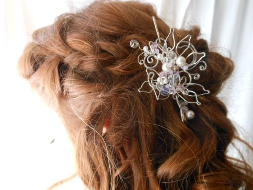 Custom Made Silver Crystal Bridal Hair Piece With Floral Swarovski Crystals