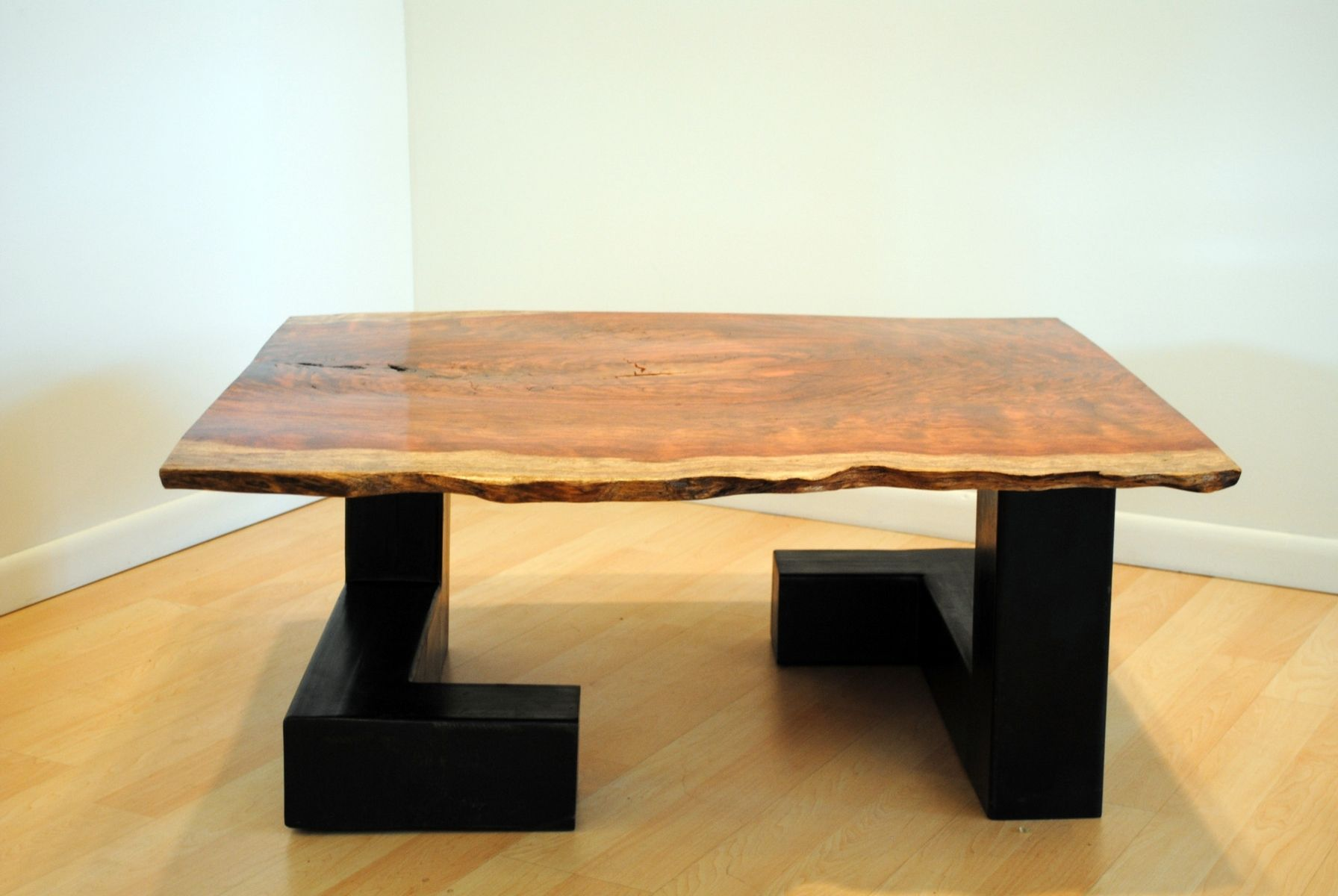 Hand Crafted Waterfall Bubinga And Steel Tube Coffee Table by