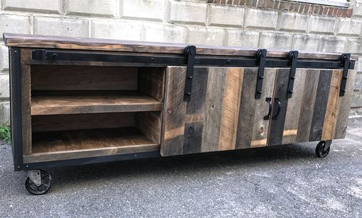 "Custom Made Rustic Industrial Barn Board Media Stand W/ Sliding Doors (92"")"
