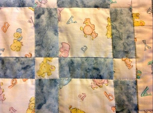 Custom Made Beautiful And Classic Blocked Baby Quilt With Lots Of Blue For Baby Boy