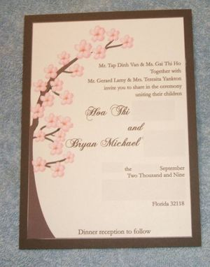 Custom Made Cherry Blossom Matted Wedding Invitation Suite With Ribbon Trim- 100 Invitations