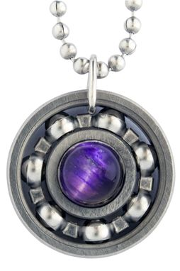 Custom Made Purple Tiger's Eye Roller Derby Skate Bearing Pendant