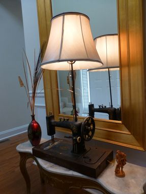 Custom Made Antique Piedmont Sewing Machine Lamp Upcycle