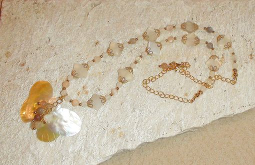 Custom Made Mother Of Pearl Butterfly Necklace With Moonstone Diamonds In Gold-Plated